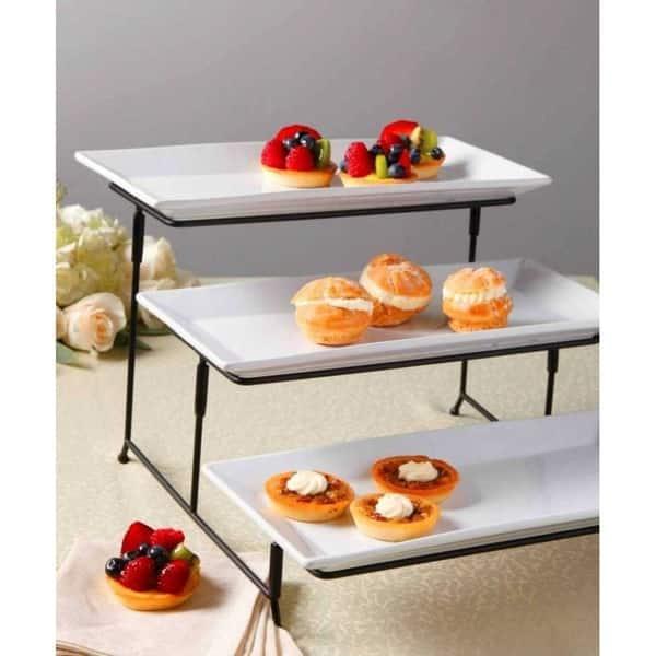 Platters for Snacks Cupcake Appetizer Display Rectangular Metal Serving Plates
