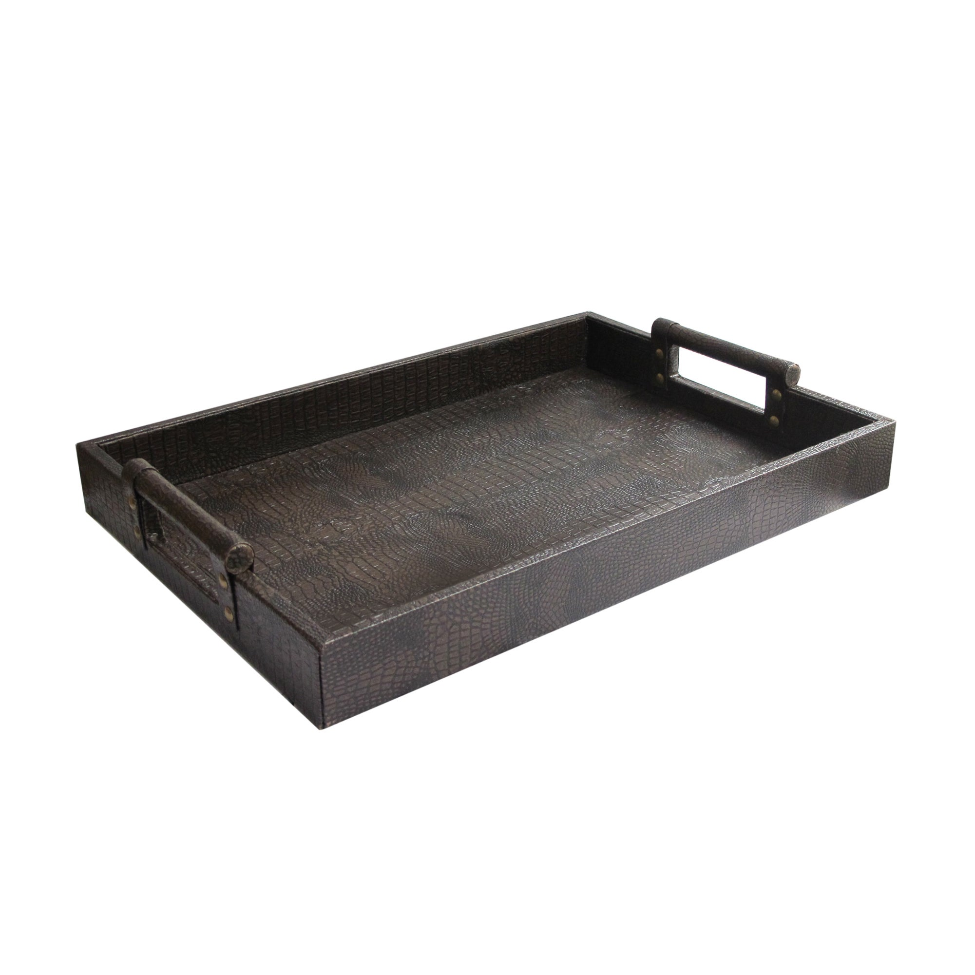 Brown Leather Serving Tray With Handles
