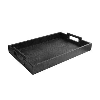 Leather Serving Tray with Handles