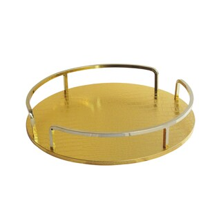 Croc Gold/Gold Rail Round Serving Tray