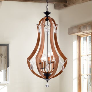 Yelant 6-light 18-inch Wooden Ornamental Pendant with Removable Crystals