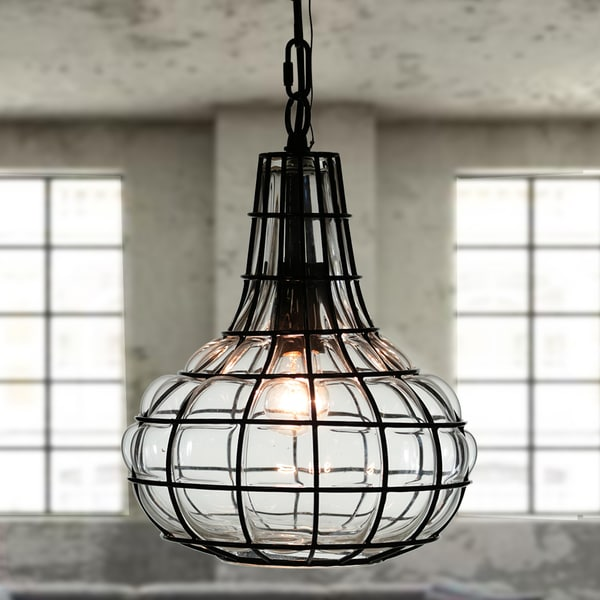 Zhosh 1-Light 10-Inch Glass Blown Metal Cage Pendant