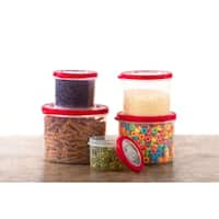 10 Pc Food Storage Containers w/ Red Lids Round Container Set