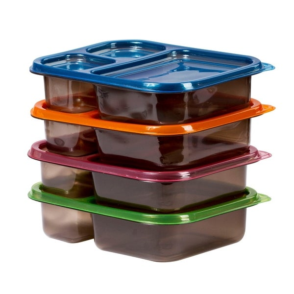 8 Meal Prep Containers Bento Food Storage 3 Compartment Plastic Reusable