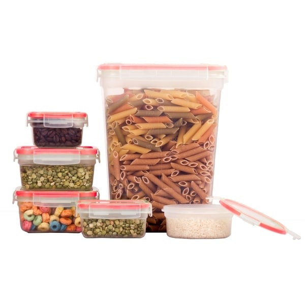 12 Pc Container Set - Food Storage Containers W/Red Lids - BPA Free