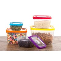 10 Pc Food Storage Containers w/ Multi Color Lids - Lunch Containers