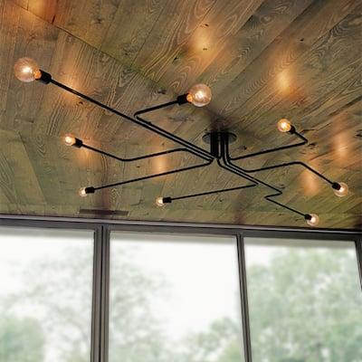 Electodyte 8-light (Light Edison bulbs included) 45-inch Circuit Board Flush Mount
