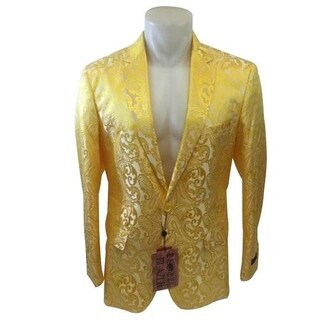 Paisley Pattern 2-Button Blazer In Yellow with Notch Lapel