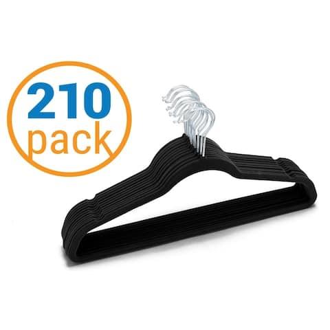 210 Value-Pack Velvet Hangers - Wrinkle-Free Nonslip Hangers - Black