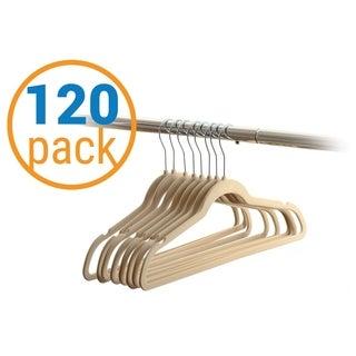 120 Value-Pack Velvet Hangers - Wrinkle-Free Nonslip Hangers - Beige