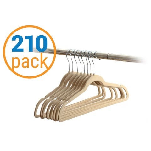 210 Value-Pack Velvet Hangers - Wrinkle-Free Nonslip Hangers - Beige
