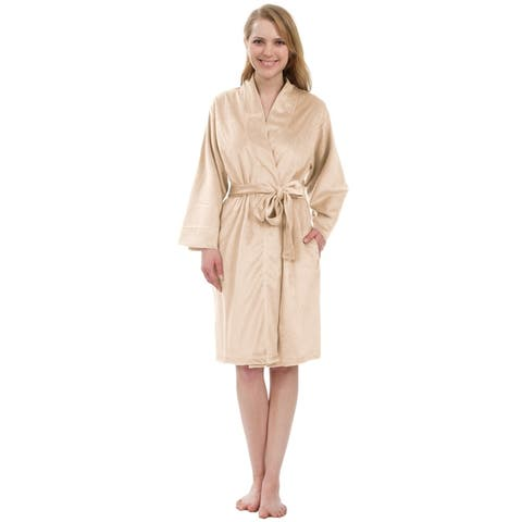 Leisureland Women's Ultra Soft Velvet Fleece Robe with Inseam Pockets