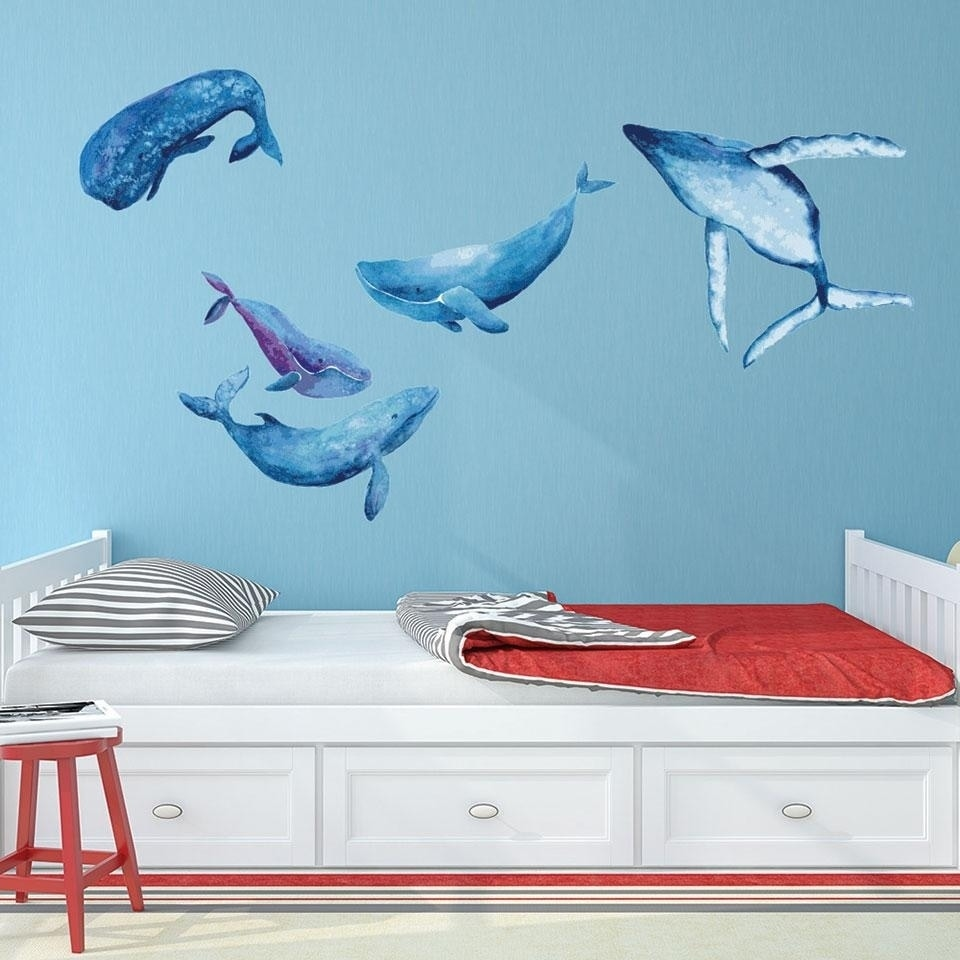 Watercolor Whale Wall Decal Set Overstock 18658417