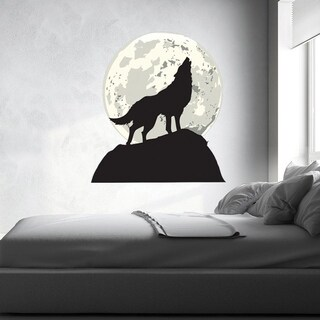 Wolf And Moon Wall Decal