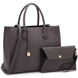 Dasein Medium Hanging Padlock Deco Satchel Handbag with Matching Wristlet (Option: Coffee)