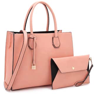 39febb03c047 Dasein Medium Hanging Padlock Deco Satchel Handbag with Matching Wristlet