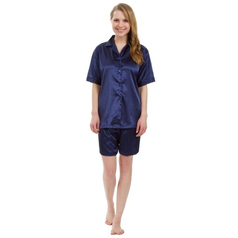 Leisureland Classic Women's Stretch Short Satin Pajama Set