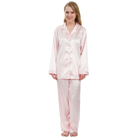 Leisureland Classic Women's Stretch Satin Pajama Set