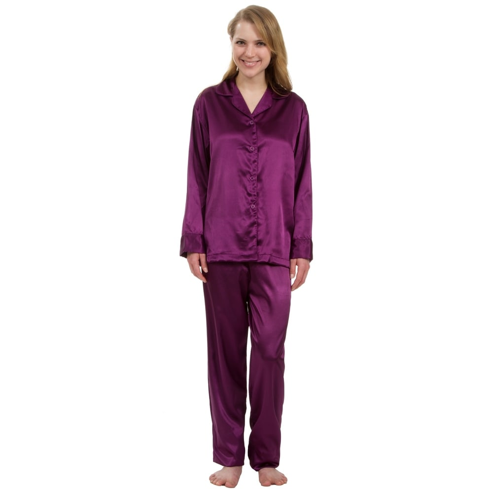 Leisureland Classic Womens Stretch Satin Pajama Set