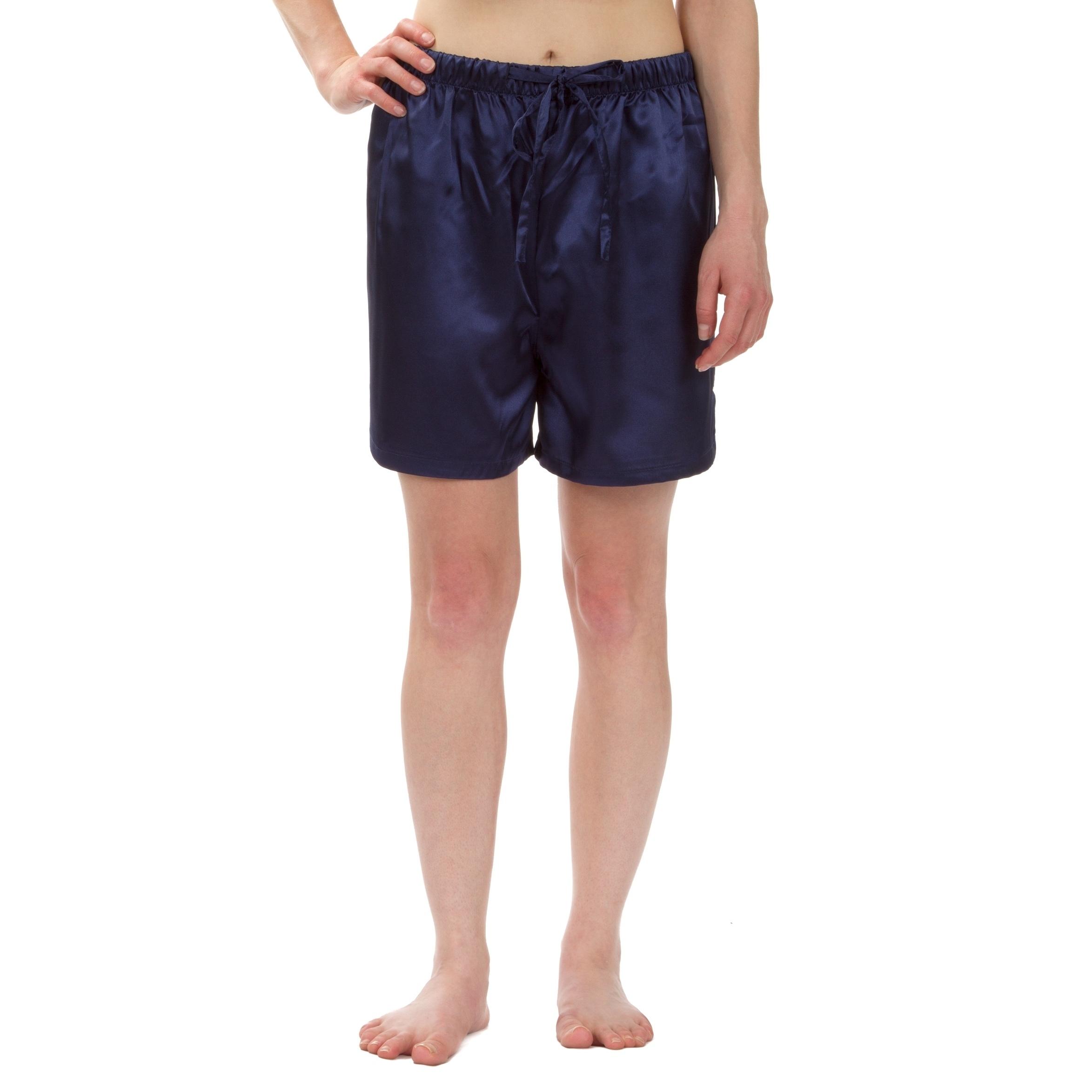 Leisureland Women's Stretch Satin Pajama Boxer Shorts (Na...