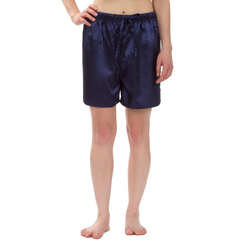 Leisureland Womens Stretch Satin Pajama Boxer Shorts