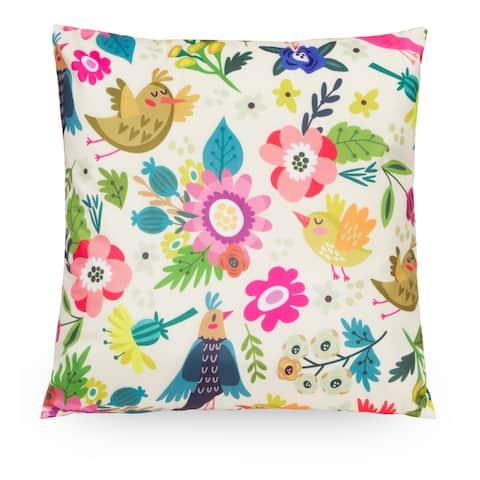 """Floral Bird 18"""" Microfiber Throw Pillow Cover, Decorative Pillowcase"""