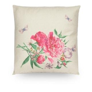 "Pink Floral 18"" Faux Linen Throw Pillow Cover, Decorative Pillowcase"