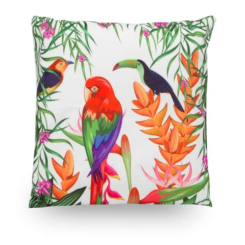 "Rainforest Parrot Tucan 18"" Microfiber Throw Pillow Cover"
