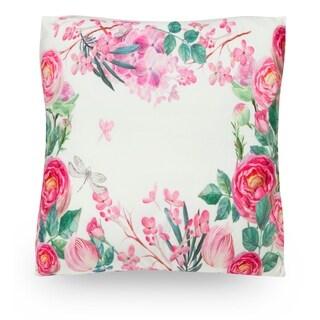"Floral Heart Wreath 18"" Microfiber Throw Pillow Cover"