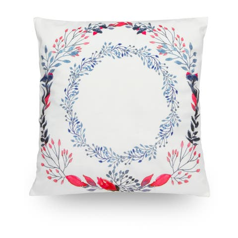 """Double Floral Wreath Hoop 18"""" Microfiber Throw Pillow Cover"""