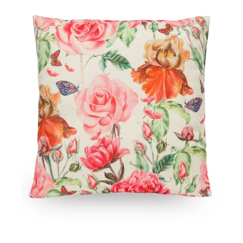 "Floral Rose 18"" Faux Linen Throw Pillow Cover, Decorative Pillowcase"