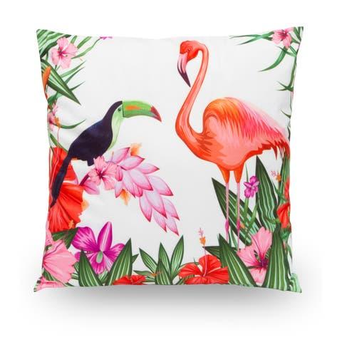 "Rainforest Tucan Flamingo 18"" Microfiber Throw Pillow Cover"