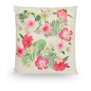 """Hibiscus Floral 18"""" Faux Linen Throw Pillow Cover"""