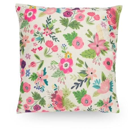 "Floral 18"" Faux Linen Throw Pillow Cover, Decorative Pillowcase"