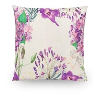 """Purple Floral 18"""" Faux Linen Throw Pillow Cover Decorative Pillowcase"""