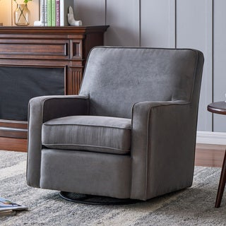 Handy Living Grey Microfiber Swivel Glider Armchair
