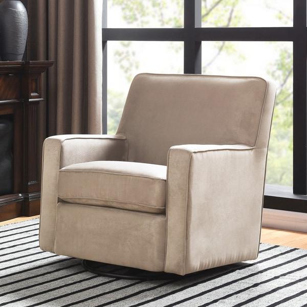 Etonnant Handy Living Khaki Microfiber Swivel Glider Arm Chair