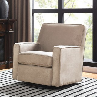 Handy Living Khaki Microfiber Swivel Glider Arm Chair