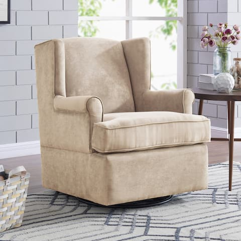 Handy Living Khaki Microfiber Hidden-pedestal Swivel Glider Wing-back Armchair