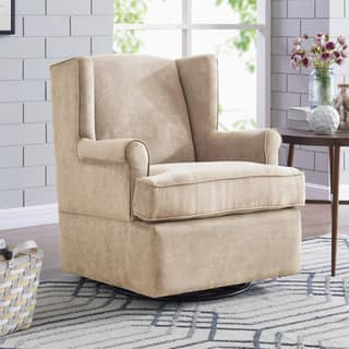 wingback recliners chairs living room furniture. Handy Living Khaki Microfiber  Foam and Mixed Engineered Hardwood Hidden pedestal Swivel Glider Wingback Chairs Room For Less Overstock com