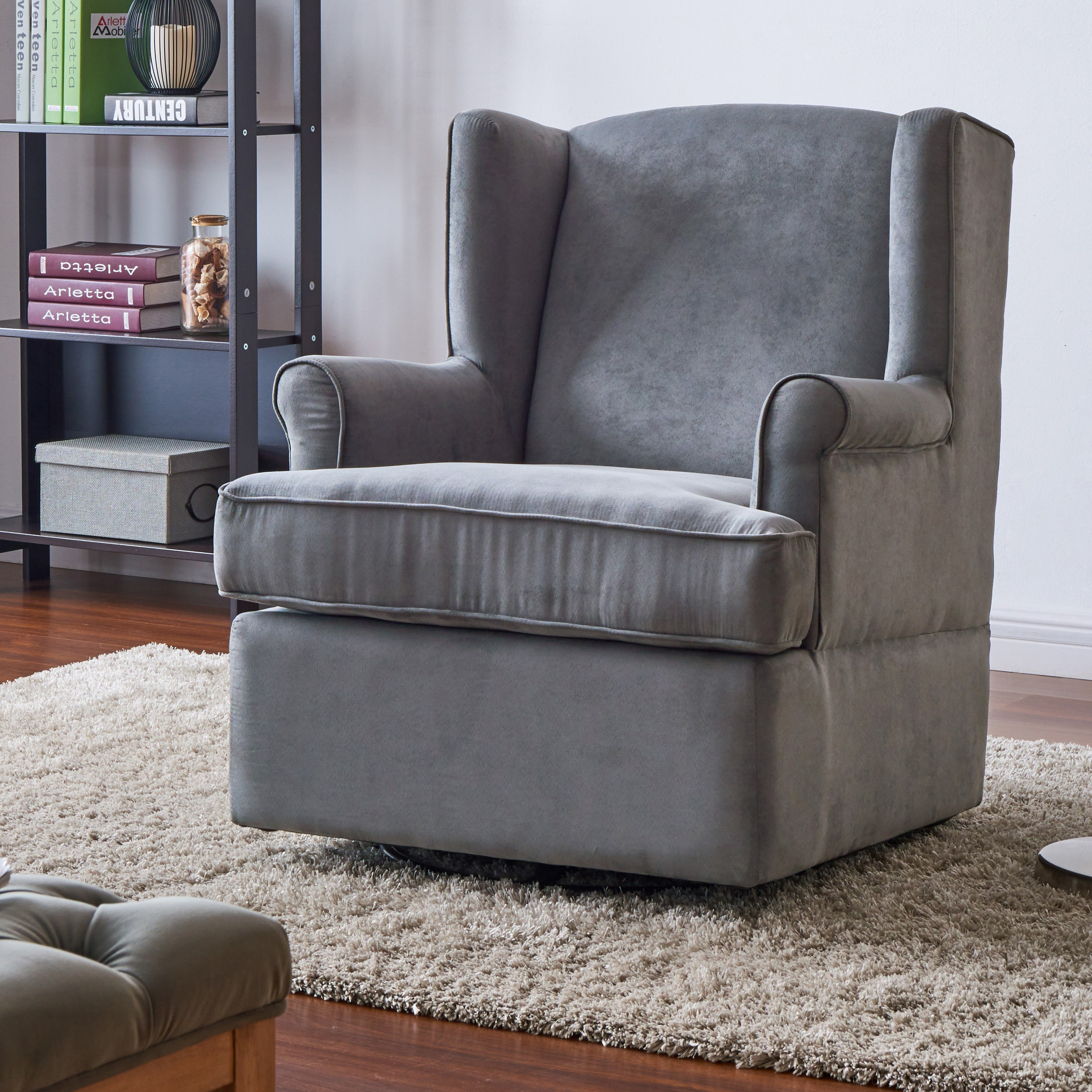 Shop Handy Living Wingback Grey Microfiber Swivel Glider Arm Chair   On  Sale   Free Shipping Today   Overstock   18659553