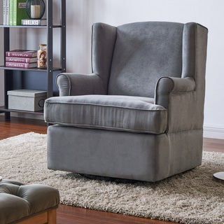 Handy Living Wingback Grey Microfiber Swivel Glider Arm Chair