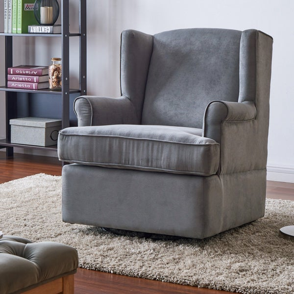 Living Room Chairs For Sale: Shop Handy Living Wingback Grey Microfiber Swivel Glider