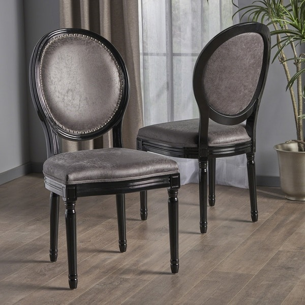 Leroy Traditional Microfiber Dining Chair Set Of 2 By Christopher Knight Home