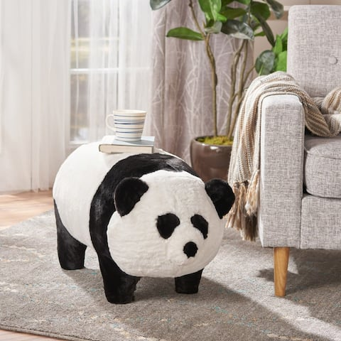 Jotham Kid's Faux Fur Panda Ottoman Bench by Christopher Knight Home