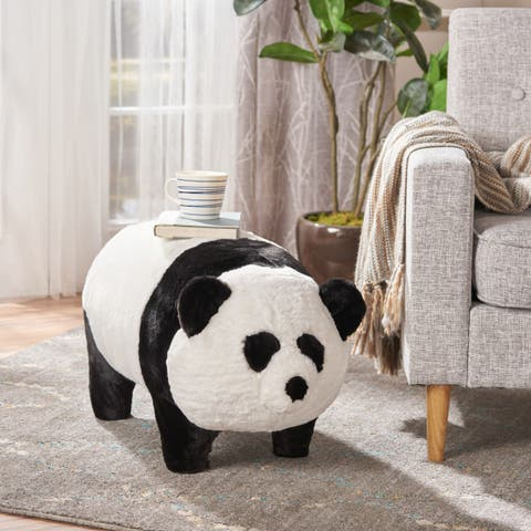 Jotham Kid's Faux Fur Panda Ottoman Bench by Christopher Knight Home - N/A