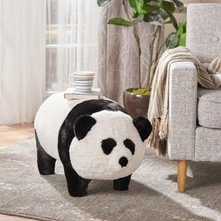 Jotham Kid's Faux Fur Panda Ottoman Bench by Christopher Knight Home - N/A