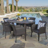 Faith Outdoor 7-piece Oval Wicker Dining Set by Christopher Knight Home
