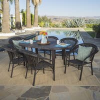 Aloha Outdoor 7-piece Oval Wicker Dining Set by Christopher Knight Home