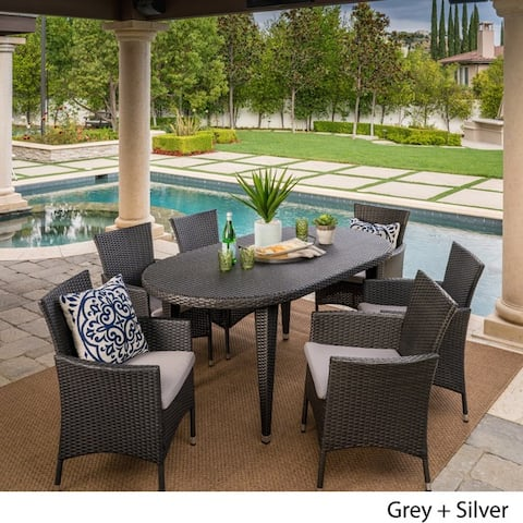 Vincent Outdoor 7-piece Oval Wicker Dining Set with Cushions by Christopher Knight Home